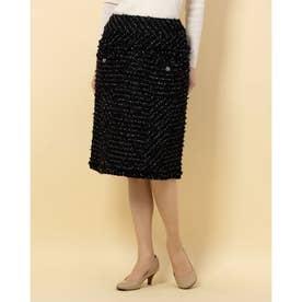 ツイードフロントポケットスカート (ブラック)