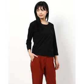 ビジューラインネックTシャツ (ブラック)