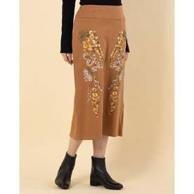 刺繍デザインスウェットタイトスカート (ライトブラウン)