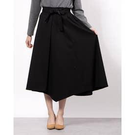 リボン付きフレアスカート (ブラック)