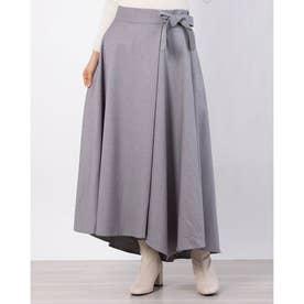 リボン付きフレアスカート (ライトグレー)