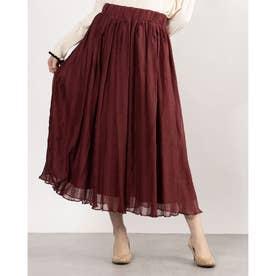 ギャザーデザインスカート (ワイン)