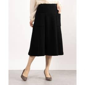 ウール素材スカート (ブラック)