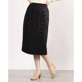 裾パイピングロングタイトスカート (ブラック)