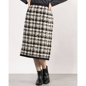 裾パイピングロングタイトスカート (アイボリー/ブラック)