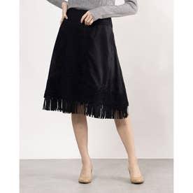フリンジ付き花柄刺繍デザインスカート (ネイビー)