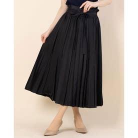 フロントスリットプリーツスカート (ブラック)