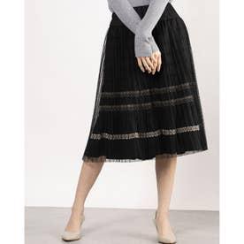 レースデザインチュール付きスカート (ブラック)
