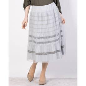 レースデザインチュール付きスカート (ライトグレー)