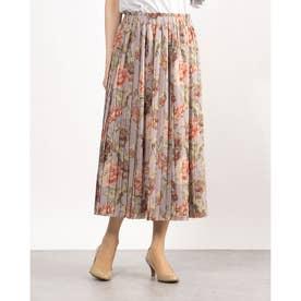 花柄風プリーツロング丈スカート (パープル)