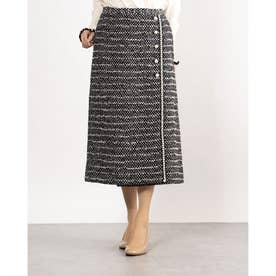 パールボタンデザインツイード風スカート (ブラック×ホワイト)