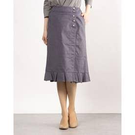 フロントスリット裾フリルスカート (グレー)