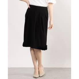 花柄ポイントデザイン入りスカート (ブラック)