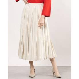 ベロア風プリーツデザインスカート (オフホワイト)