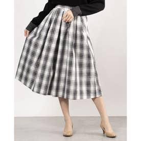 ボリューム感ブラックスカート (オフホワイトチェック)