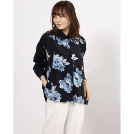 フラワープリントフロントタックシャツ (ネイビー)