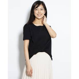 UネックシンプルTシャツ (ブラック)