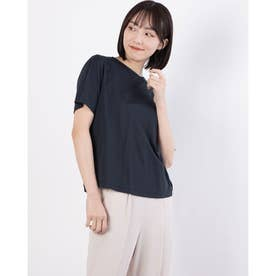 バック裾ギャザーデザインシャツ (ネイビー)
