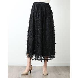 星モチーフ刺繍のロングスカート (ブラック)
