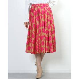 光沢フラワープリントスカート (ゴールド×ピンク)