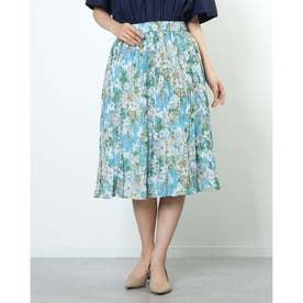 花柄フレアスカート (ブルー)