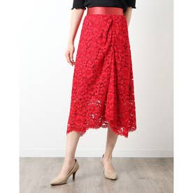 フラワー刺繍スカート (レッド)