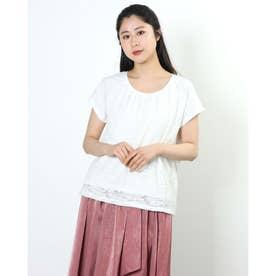 透け感デザイン半袖トップス (ホワイト)