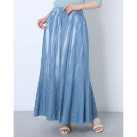 染め柄風コットンギャザースカート (ブルー)