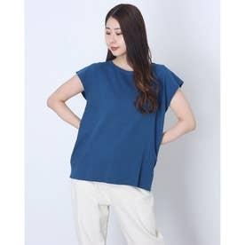 インディゴコットンストレッチノースリーブTシャツ (ブルー)