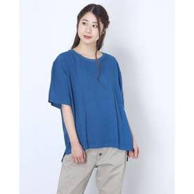 リネン混ラウンドネックTシャツ (ブルー)