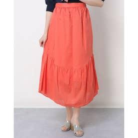 ハート柄裾フレアコットンロングスカート (スカーレット)