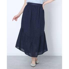 ハート柄裾フレアコットンロングスカート (ネイビー)