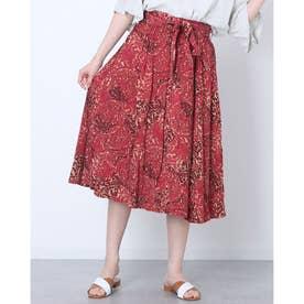 ウェエストマークデザインアジアン風ロングスカート (ワインレッド)