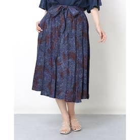 ウェエストマークデザインアジアン風ロングスカート (ブルー)