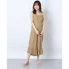 フレア裾キャミサロペット (ブラウン)
