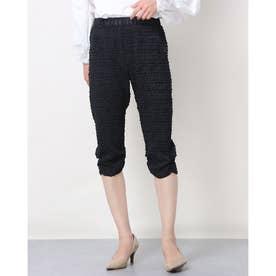 ウェエストゴムプリーツ加工7分丈パンツ (ブラック)