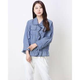パールフリルモチーフジャケットシャツ (ブルー)
