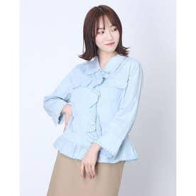 パールフリルモチーフジャケットシャツ (ライトブルー)