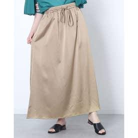 光沢感のあるロング丈カジュアルスカート (ゴールド)
