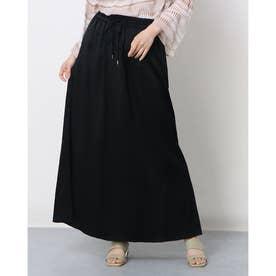 光沢感のあるロング丈カジュアルスカート (ブラック)