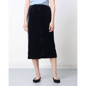ベロアスリットタイトスカート (ブラック)