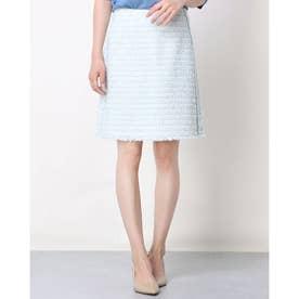 ツイード調台形スカート (ブルー×ホワイト)