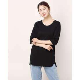 ロング丈ハーフスリーブコットンTシャツ (ブラック)