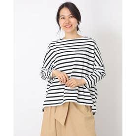 ビックシルエットボーダーTシャツ (ホワイト)