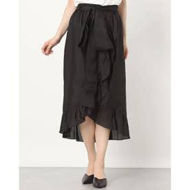 ラップフリルデザインシルクスカート (ブラック)