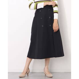 フロントボタン付きスカート (ブラック)