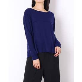 バック異素材ウールロングTシャツ (ブルー)