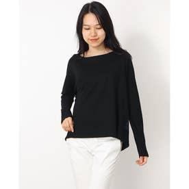 バック異素材ウールロングTシャツ (ブラック)