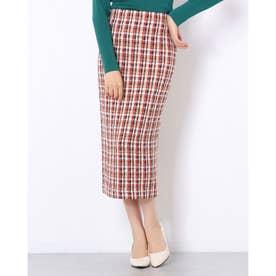 ツイード調バックスリットIラインスカート (ブラウン×レッド)