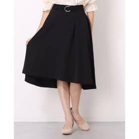 ベルト付きAラインスカート (クロ)